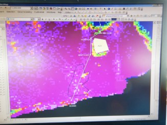 The sea ice density map. Purple is high concentration... enough said!