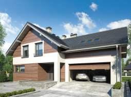 Проект мансардного дома с гаражом, террасой и балконом «КМ-72»