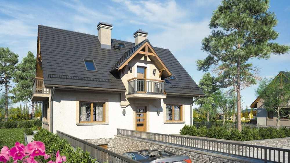 Проект мансардного дома с гаражом, террасой и балконом «КМ-80» - фото №3