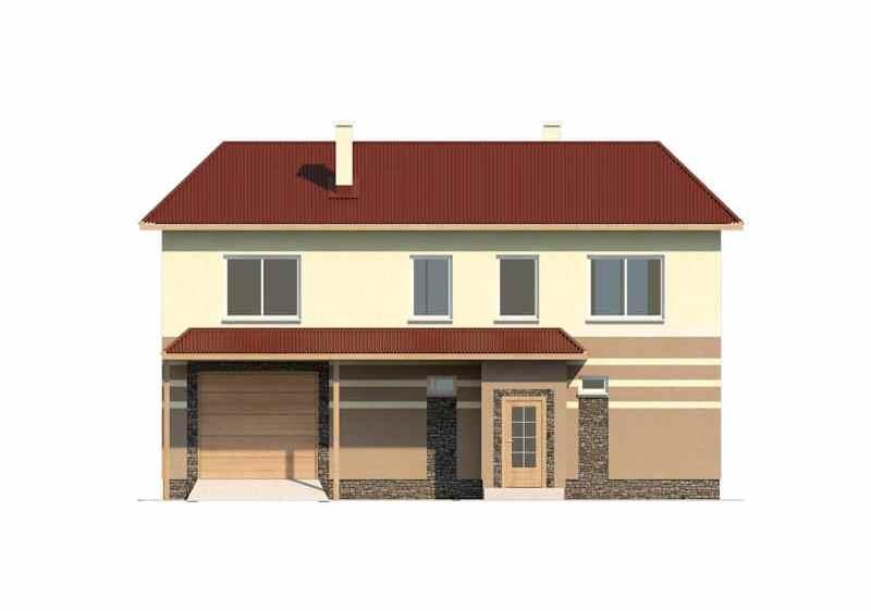 Фасад двухэтажного дома с гаражом и террасой «КД-16» - спереди