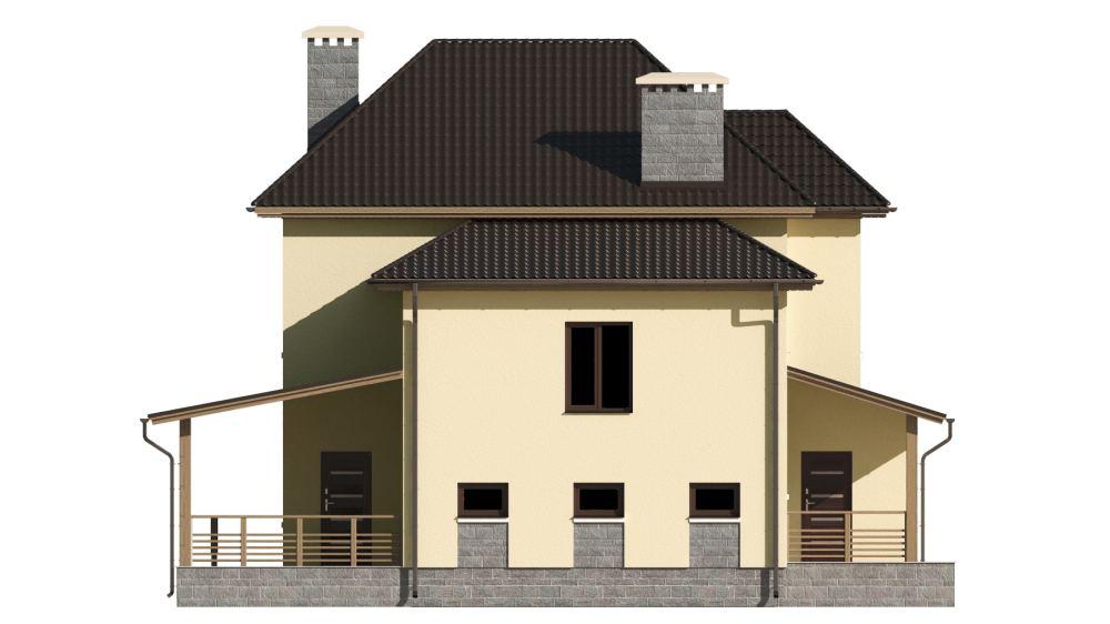 Фасад двухэтажного дома с гаражом и террасой «КД-21» - слева