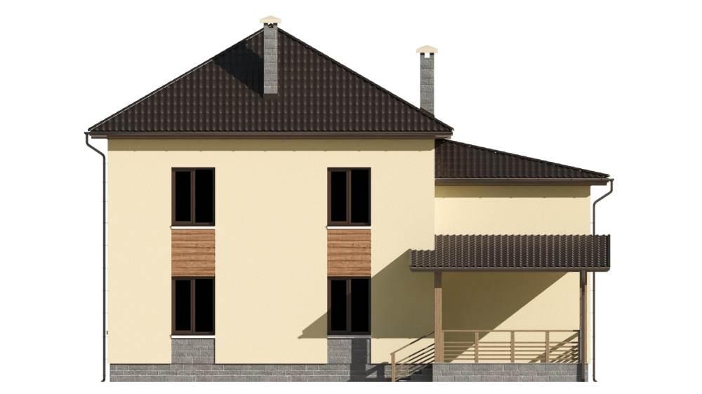 Фасад двухэтажного дома с гаражом и террасой «КД-21» - сзади