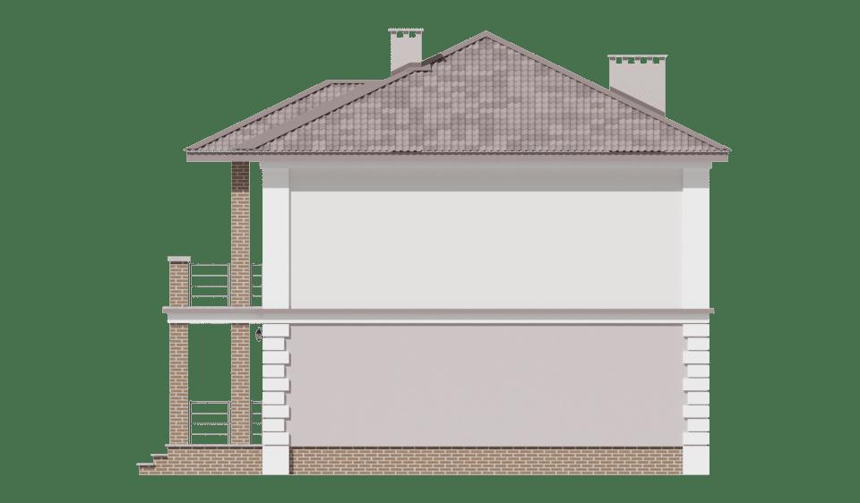 Фасад двухэтажного дома с гаражом, террасой и балконом «КД-29» - справа