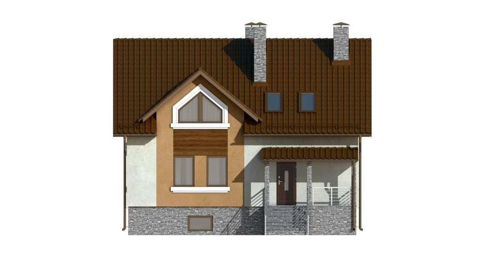 Фасад мансардного дома с балконом «КМ-101» - спереди