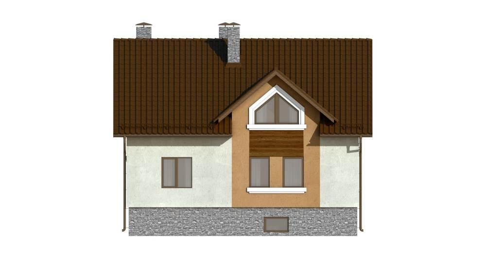 Фасад мансардного дома с балконом «КМ-101» - сзади