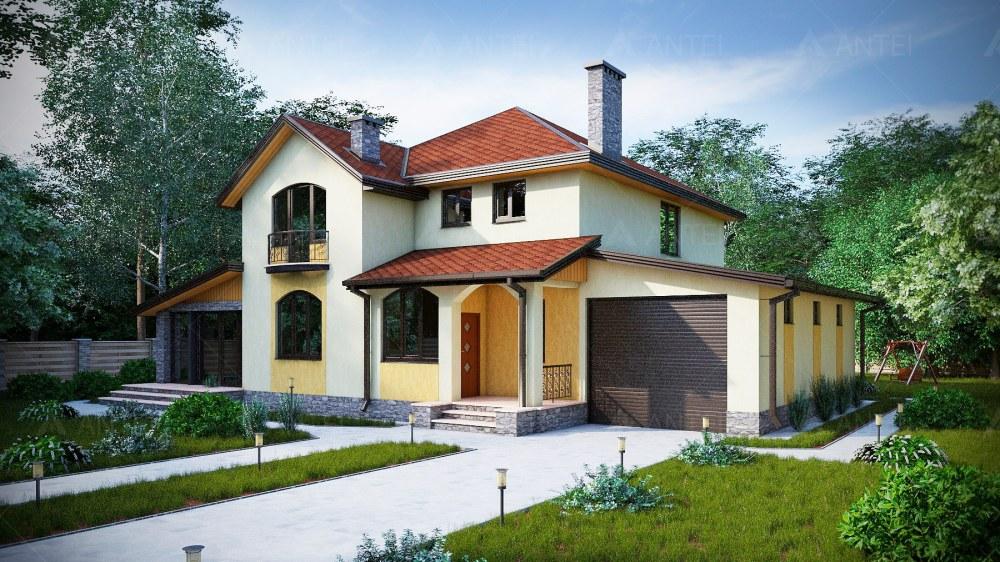 Проект двухэтажного дома с гаражом, террасой и балконом «КМ-24» - фото №1
