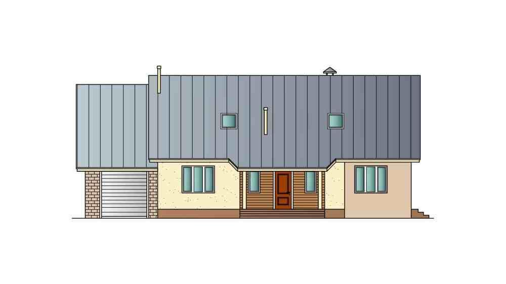 Фасад мансардного дома с гаражом, террасой «КМ-27» спереди