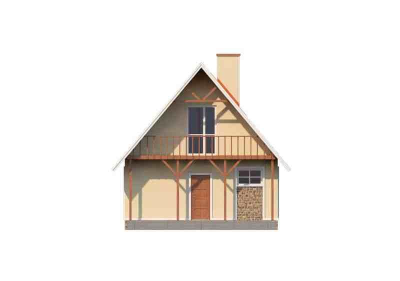 Фасад мансардного дома с террасой и балконом «КМ-3» - спереди