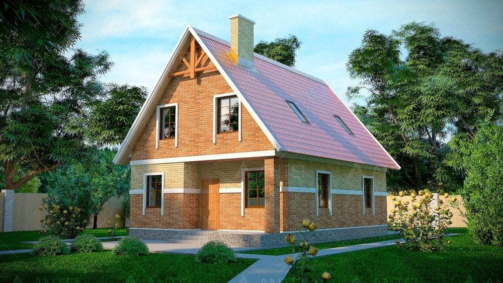 Проект мансардного дома с террасой и балконом «КМ-4» - фото №1