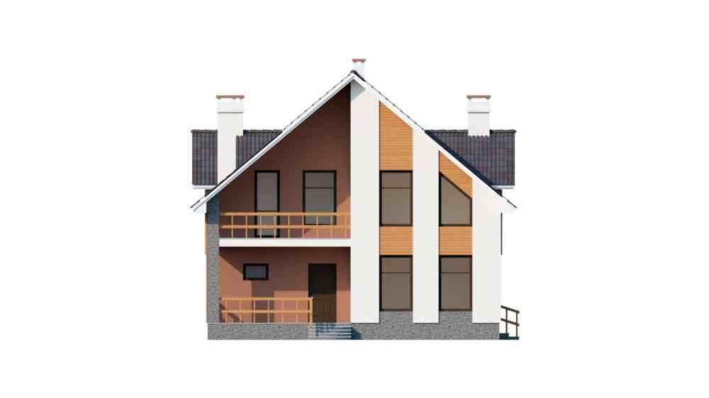 Фасад мансардного дома с террасой и балконом «КМ-60» -спереди