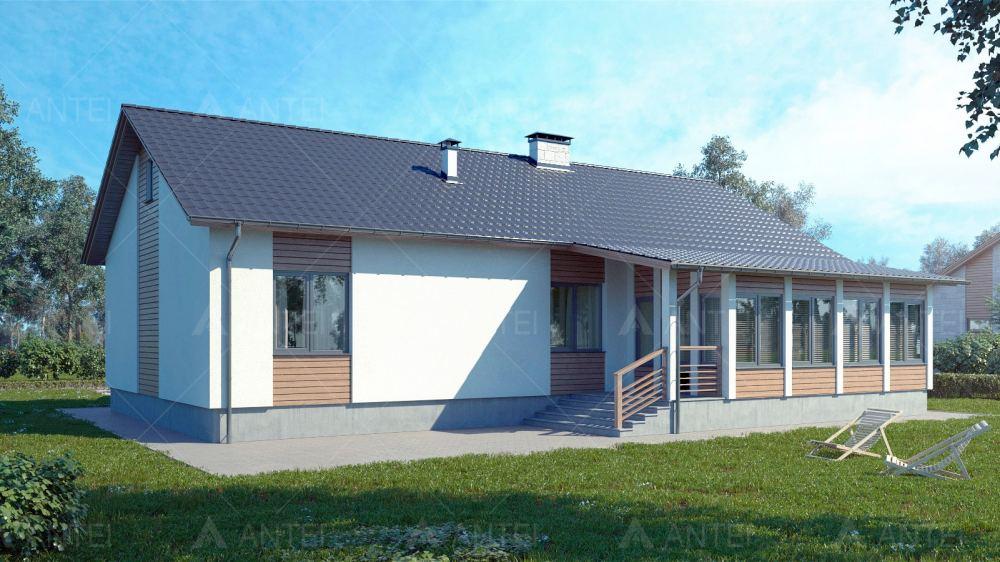 Проект одноэтажного дома с гаражом и верандой «КО-117» - фото №2