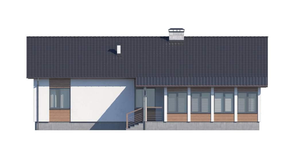 Фасад одноэтажного дома с гаражом и верандой «КО-117» - сзади
