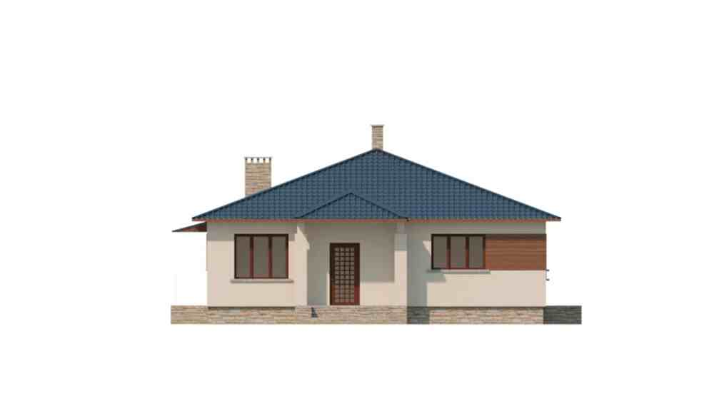 Фасад одноэтажного дома с террасой «КО-122» - спереди