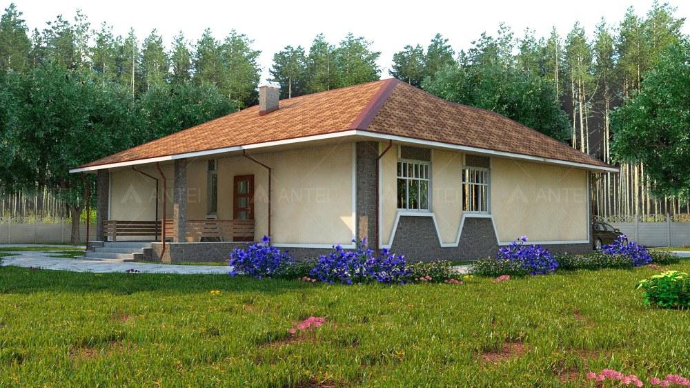 Проект одноэтажного дома с гаражом и террасой «КО-52» - фото №4