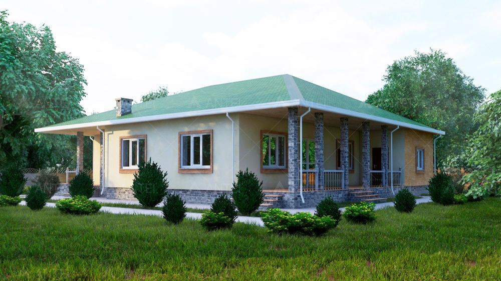 Проект одноэтажного дома с гаражом и террасой «КО-56» - фото №3