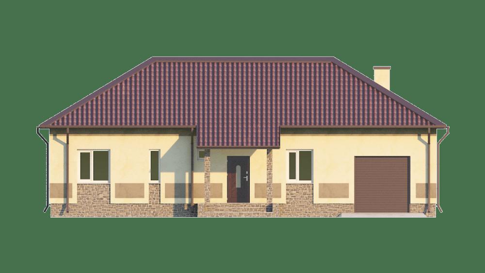 Фасад одноэтажного дома с гаражом «КО-68» - спереди