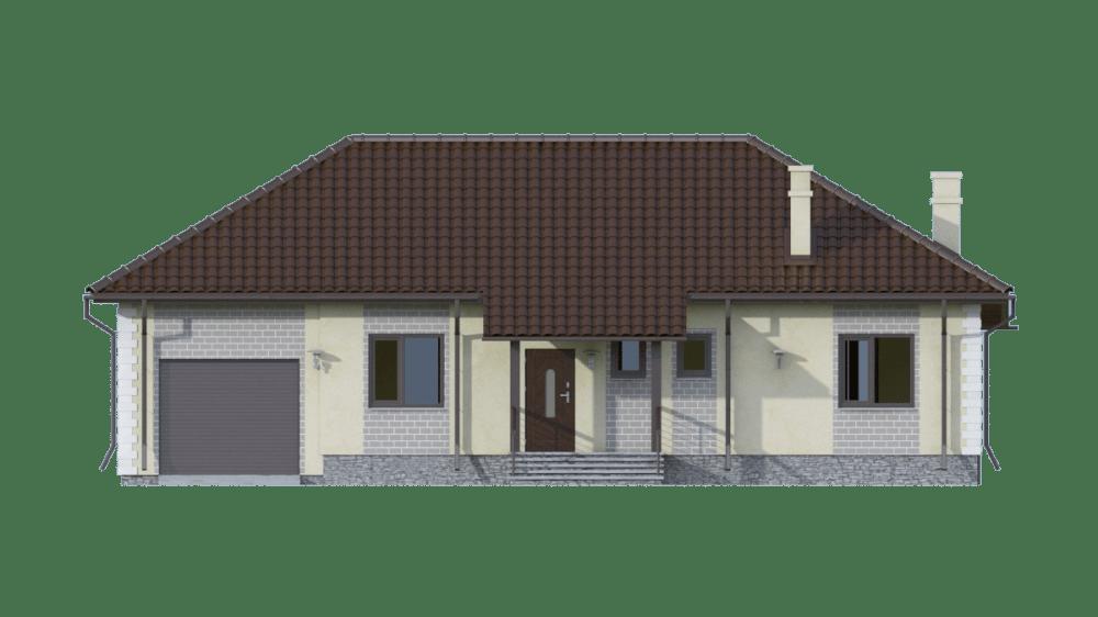 Фасад одноэтажного дома с гаражом и террасой «КО-72» - спереди