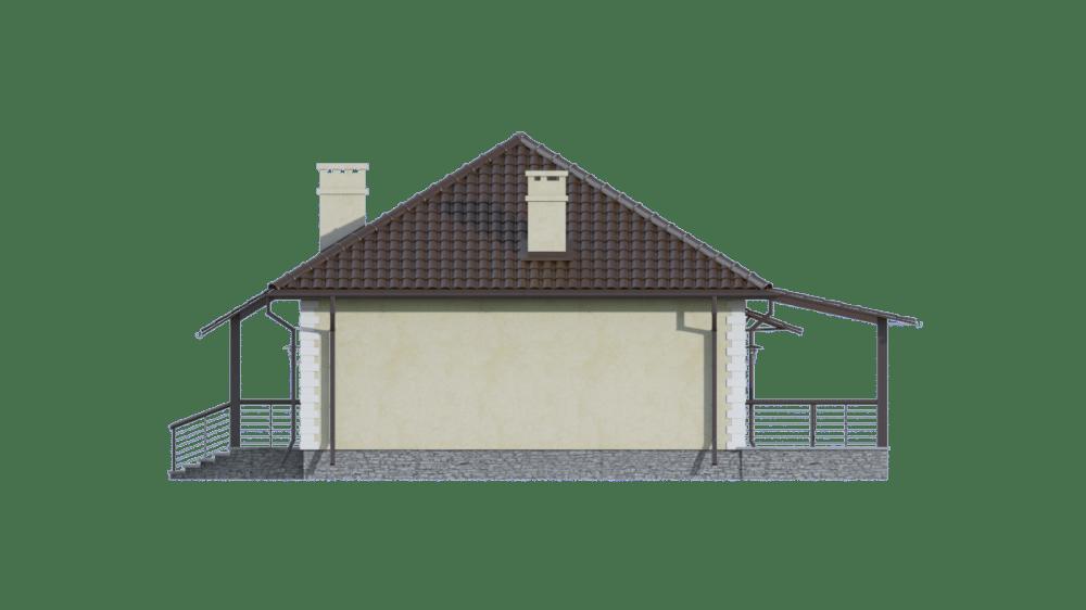 Фасад одноэтажного дома с гаражом и террасой «КО-72» - справа