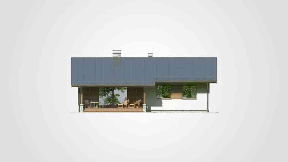 Фасад одноэтажного дома с террасой «КО-97» - сзади