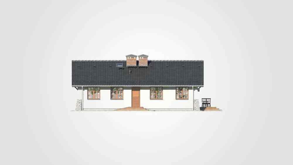 Фасад одноэтажного дома с террасой «КО-107» - сзади