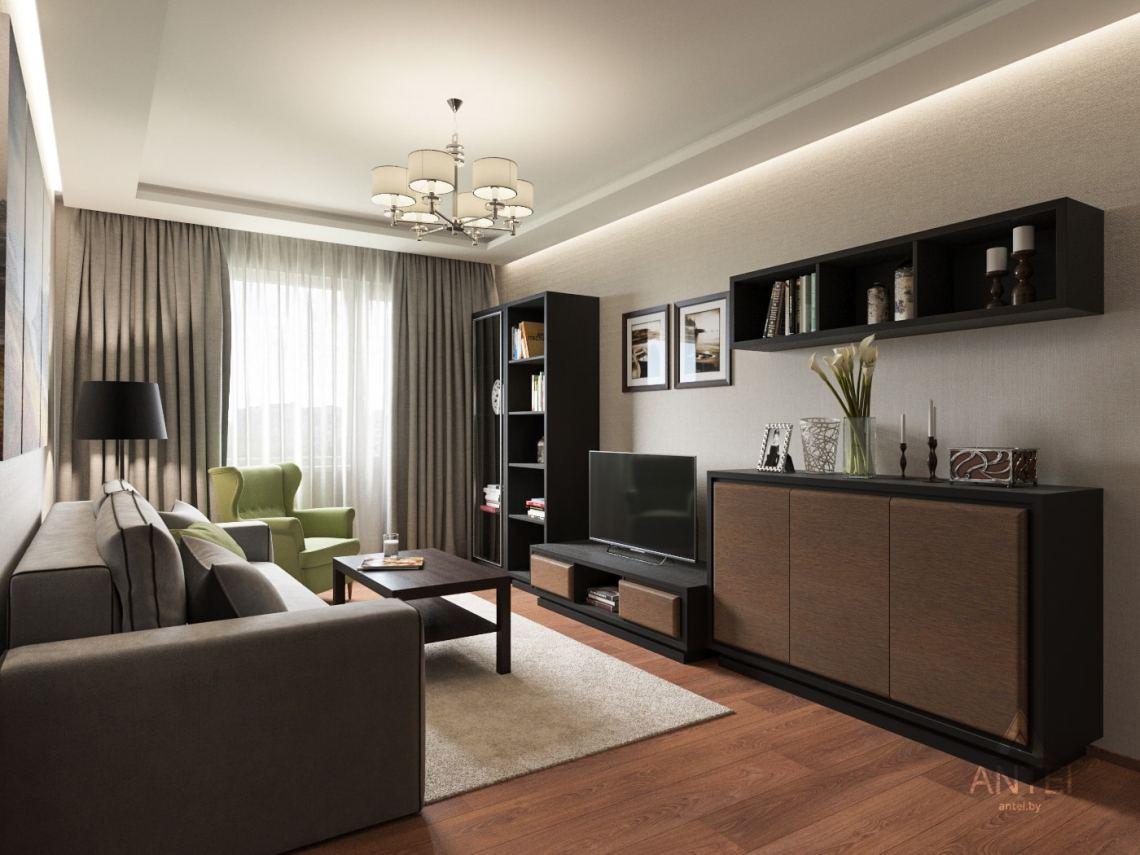Дизайн интерьера трехкомнатной квартиры в Рогачеве - гостиная фото №1
