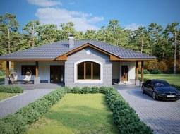 Проект одноэтажного дома с навесом для авто и террасой «КО-124»