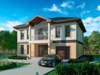 Проект двухэтажного дома с гаражом и террасой «КД-45»
