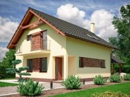 Проект мансардного дома с террасой и балконом «КМ-125»