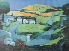 After John Elwyn Dyfed - Landscape, A lithograph. Sold for £240 at Anthemion Auctions