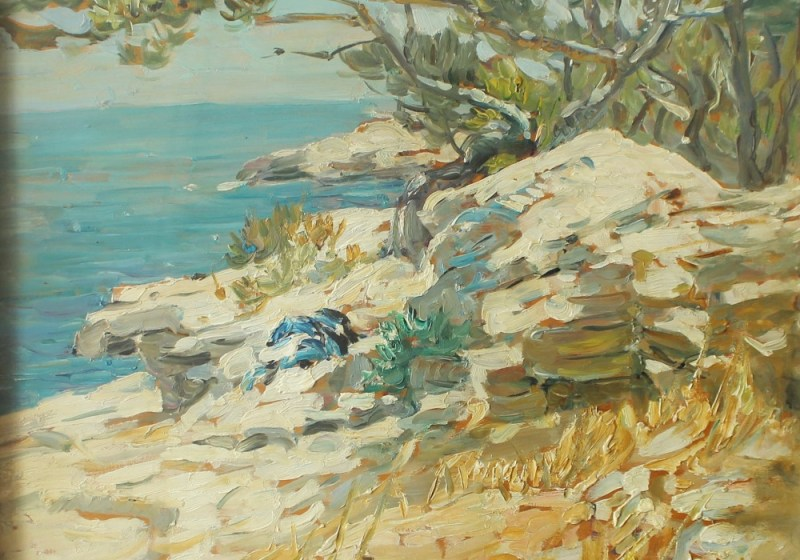 Dorothea Sharp - A rocky coastline, Oil on canvas. Sold for £3,600 at Anthemion Auctions