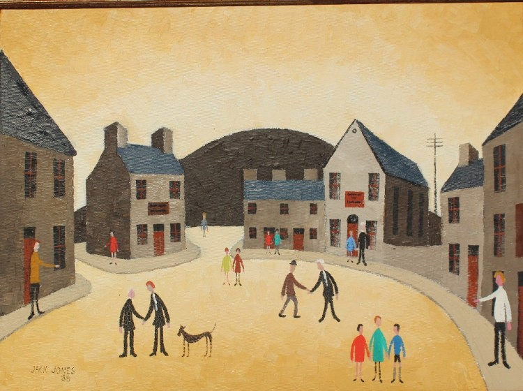 Jack Jones - A street scene with figures and a dog on the pavement and road, Oil on board. Sold for £9,800 at Anthemion Auctions