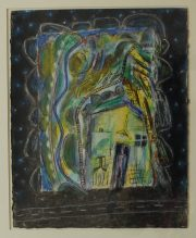 Ernest Zobole - Painting about Tyntyla 1994, Mixed media on paper. Sold for £1,250 at Anthemion Auctions