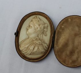 "A carved ivory panel depicting Queen Anne, inscribed to the reverse ""The gift of Queen Anne to Mr. J Snape, 1706"". Sold for £1,350 at Anthemion Auctions"