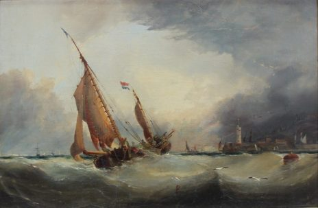 Hayes - A ship in a choppy sea with a town beyond, Oil on canvas. Sold for £800 at Anthemion Auctions