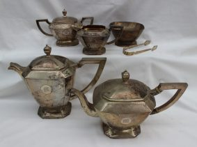 A Chinese white metal seven piece tea set. Sold for £1,000 at Anthemion Auctions