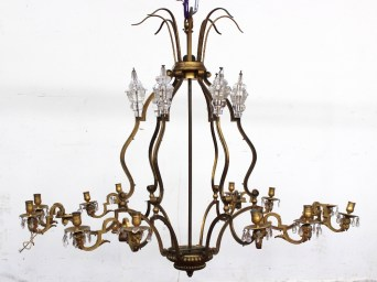 A 19th century ormolu and glass chandelier. Sold for £720 at Anthemion Auctions
