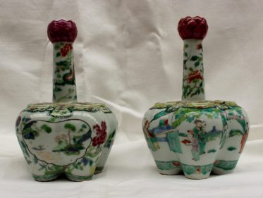 A pair of Chinese Famille verte porcelain tulip vases. Sold for £720 at Anthemion Auctions