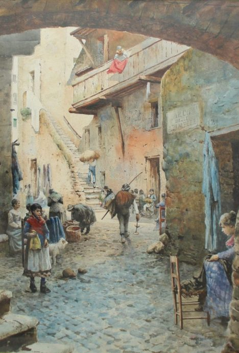 Ettore Roesler Franz - Arco Delle Azimelle, Roma, Watercolour. Sold for £720 at Anthemion Auctions