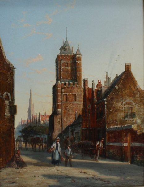 William Raymond Dommersen - Dutch Street Scene, Oil on canvas. Sold for £550 at Anthemion Auctions