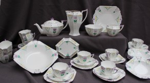 A Shelley part tea service decorated with garden flowers. Sold for £650 at Anthemion Auctions
