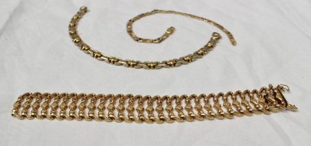 An 18ct yellow gold bracelet with textured links together with two other 18ct yellow and white gold bracelets. Sold for £630 at Anthemion Auctions