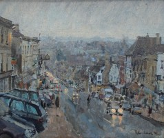 Peter Brown - Early evening mist, Burford, Oil on canvas. Sold for £800 at Anthemion Auctions