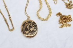 A 9ct yellow gold locket together with seven 9ct yellow gold chains, approximately 85 grams. Sold for £620 at Anthemion Auctions