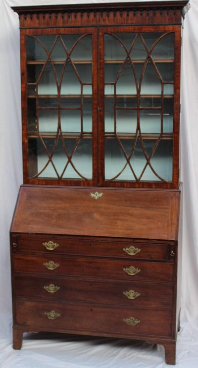 A George III mahogany bureau bookcase. Sold for £450 at Anthemion Auctions