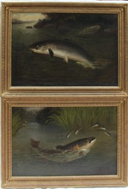 A Roland Knight - A salmon on a hook leaping from the water. Oil on canvas. Sold at Anthemion Auctions for £680