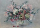 Valerie Ganz - Hydrangeas & Kaffir-Lilies, Watercolour. Sold at Anthemion Auctions for £170