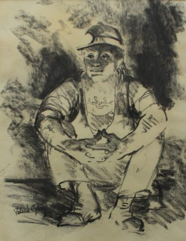 Valerie Ganz - Seated Miner, Watercolour. Sold at Anthemion Auctions for £700