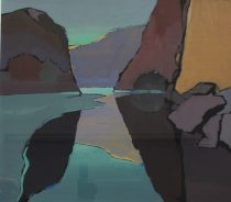 John Wright - A valley landscape in greens and blues, Gouache. Sold at Anthemion Auctions for £330