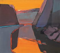 John Wright - A valley landscape in purples and oranges, Gouache. Sold at Anthemion Auctions for £220