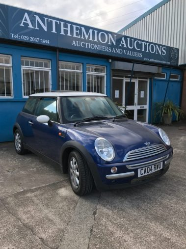 A Mini Cooper automatic, 1.6 three door hatchback in blue. Sold for £3,400 at Anthemion Auctions